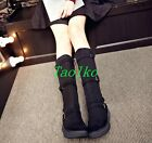 Fashion Womens Flat Heels High Boots Buckle Side zippers Winter Faux Suede Shoes