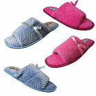 Womens Ladies Open Toe Soft Flat Mule Slippers Pink or Blue Size 3/4  5/6  7/8