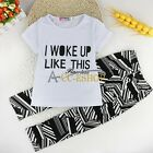 2pcs Kid Girls Cotton Short Sleeve Tops+Pants Spring Outfits I WOKE UP LIKE THIS