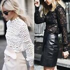 Stylish Lace Long Sleeve Blouse Hight Collar Stretchy Solid Women's Tops T-shirt