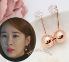 korean TV Guardian Lonely Great God Yoo InNa Princess cut Gem Ball Drop Earrings