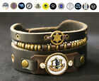 Leather bracelet with Hebrew Israeli Symbols - Hamsa, IDF, Shema Yisrael,