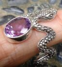 Size 8 Gemstone Solid Silver, 925 Balinese Snake Adjustable Ring 24945