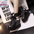 Womens High Wedge Heel Shoes Creeper Platform Lace Up Ankle Boots Casual Rivet