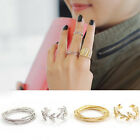 Fashion 2 Pcs/Set Women Above Knuckle Finger Band Leaves Mid Rings Jewelry Gift