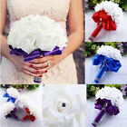 Bridal Colorful Foam Roses Artificial Silk Flower Wedding Bride Bouquet Party