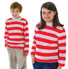 Childrens Kids Red & White Striped Fancy Dress Costume Outfit 3-13 Yrs