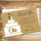 Personalised Gold Cake Topper Wedding Day Thankyou Thank you Cards N178