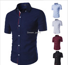 US SHIP! New Men's Luxury Stylish Short Sleeve Casual Slim Fit Shirts Summer