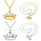 """21"""" Crown Rhinestone Golden Slivery Pendant Chain Necklace Jewerly Mother's Gift"""