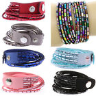 Women's Men's Multi-Layers Rhinestones Faux Leather Wrap Bangle Bracelet Sanwood