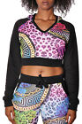 Long Sleeve Midriff Shirt Hooded Crop Top Fashion Safari V-Neck Vest Black
