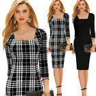 New Women Square Neck Houndstooth 3/4 Sleeve Party Cocktail Bodycon Pencil Dress