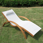 Wooden Patio Chaise Lounge Chair Outdoor Furniture Pool Garden Armrest Lounger cheap