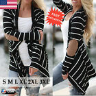 New Women Striped Long Sleeve Coat Jacket Cardigan Tops Casual Sweater Outwear