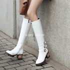 Womens Side Zip Buckles Block Mid Heel Roman Knee High Boots Casual Riding Shoes