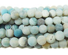 Light Blue Striped Matte Agate Round Gemstone Beads~Guaranteed