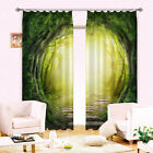 3D Curtain 2 Panels Set Readymade Eyelet Ring Top--Forest Tree Scenic Style