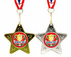 10 x  Silver or Gold, Metal School Sports Day Medals on Ribbons Star Shape