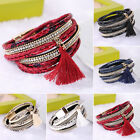 New Women Leather Bracelet Rhinestone Bangle Charm Wristband Cuff Gift 2 Styles