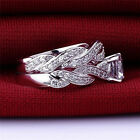 2Pcs Women Stylish Silver Plated Rhinestone Engagement Wedding Ring Set Fashion