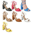 Breckelle's CE12 Women Peep Toe Slingback Chunky Heel Lace Up Sandals