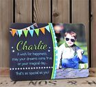 Personalised Boys Stars & Bunting Happy Birthday WOOD FRAME F57 ANY TEXT