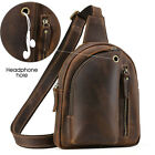 Men's Real Leather Small Cross Body Messenger Sling Bag Sports Pouch Chest Pack