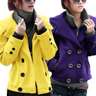 Women Double Breasted Long Sleeve Hooded Layered Jacket