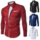 INCERUN Mens Casual Shirts Fitted Long Sleeve 100% Cotton Dress Shirt T Shirts