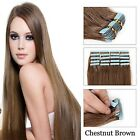 """100% Real Remy Tape-In Human Hair Extensions 16""""-26"""" #08 Chestnut Brown Straight"""
