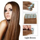 """Light Brown Straight Tape-In Human Hair Extensions 16""""-26"""" Free Shipping Seamles"""