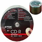 TDK 25-200 PACK CDR BLANK DISCS CD-R RECORDABLE CD 80 MINS 52X 700MB