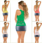 Neu Just KouCla Feinripp Tanktop Zip Tops Tank Top Shirt Zipper Strass !031-N