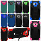 For Samsung Galaxy Sky Turbo Layer HYBRID KICKSTAND Rubber Case Phone Cover