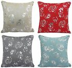 Foil Print 43x43cm Cushion Cover Teal Black Natural Red Sparkle Floral Metallic