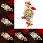 Women's Colorful Leaves Bangle Bracelet Luxury Analog Quartz Round Wrist Watch