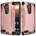 Cases Covers Skins - For ZTE Max XL N9560 Combat Brushed Metal HYBRID Rubber Hard Case Phone Cover
