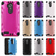 For ZTE Max XL N9560 Combat Brushed Metal HYBRID Rubber Hard Case Phone Cover