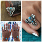 Fashion Bohemian Elephant Head Alloy Finger Turquoise Ring Women Jewelry 2colors
