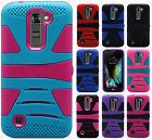 For LG K10 Hard Gel Rubber KICKSTAND Case Phone Protector Cover +Screen Guard