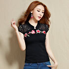 Ethnic Style Women Embroided Line Lace Short Sleeve Tops T-shirt Slim Blouse