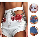 Damen Vintage Zerrissene Frauen High Waisted Stickerei Denim Shorts Jeans Pants