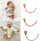 Infant Baby Wooden Beaded Pacifier Holder Clip Nipple Teether Dummy Strap Chain