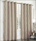 2 - Gramercy EMBROIDERED FAUX SILK LINED Grommet Panel Drapes Curtain - LINEN