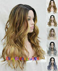Long Wavy Parted middle Ombre Lace Front Heat Resistant Women Natural wig
