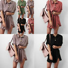 HOT Women's Long Blouse Tops Short Sleeve Shirts Loose Casual Design Solid Color