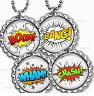 Comic Book Sounds Children's Bottle Cap Necklace & Chain Handcrafted Jewelry