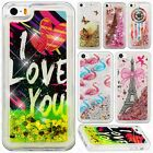 For iPhone 5 5S SE Liquid Glitter Quicksand Hard Case Phone Cover +Screen Guard