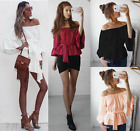 UK Womens Off Shoulder Casual Top T-Shirt Blouse Summer Beach Tops Size 6-14